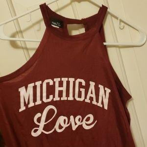 Michigan Love maroon halter tank